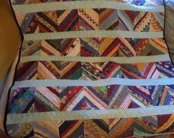 Strips of Scraps- Throw Quilt