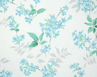 1940s Vintage Wallpaper by the Yard - Floral Vintage Wallpaper with Aqua Blue Flowers on White