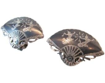 Sterling Fan Siam Earrings Vintage Clip on