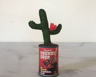 Mini Green Cactus with Pink Flower in Vintage Red Campbell's Soup Tin/Cute Home Decor Gift Her/Thanksgiving Christmas Holiday/Fake Plant