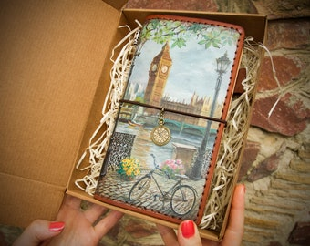 London Journal Travelers Notebook Leather Journal Hand Painted London Planner Natural Leather Standard Size Notebook 3 Inserts 192 Pages