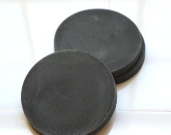 Black Concrete Round Coasters. Set of 4. Handmade. Cement Coasters