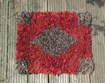 Rag Rug, proggy rug, Floor rug, upcycled rug , wool rag rug, rectangular rug,cat rug