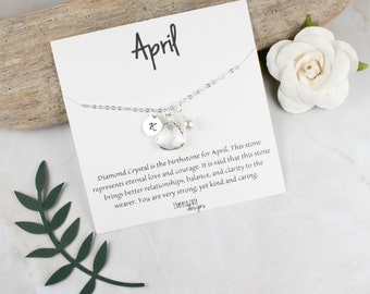 April Birthstone Personalized Silver Necklace, April Birthday Jewelry, Personalized Silver Necklace, April Birthday Gift, Bridesmaid Jewelry