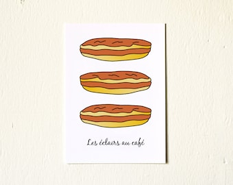 Kitchen Art French éclairs au café patisserie 5x7 art print to frame desserts Brown Gourmet Foodie Sweet tooth