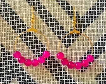 Hot Pink Quartzite Earrings