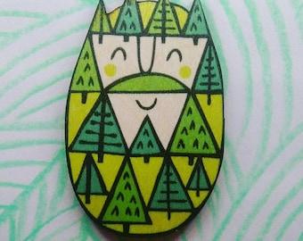 Treebeard wooden brooch