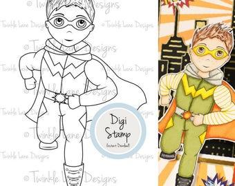 Superhero, Digi Stamp, Superhero Clipart, Super Boy, Boy Digital Stamp, A5 Page, Hero, Costume Character, Crime Fighter, Superhuman, Comic
