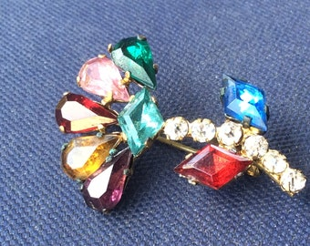 Vintage Czechoslovakia Colored Cut Glass Flower Brooch