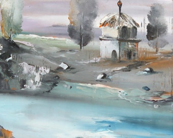 Landscape oil painting impressionism river hut house
