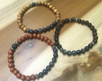 Blue mix and match wood bracelets
