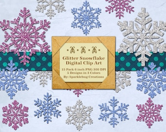 Glitter Snowflakes Digital Clipart Instant Download Printable Designs