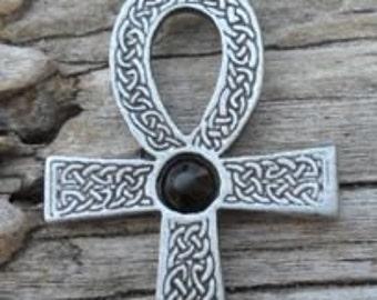 Pewter Ankh Egyptian Cross with Celtic Knots Pendant with Swarovski BLACK Onyx Crystal  (31G)