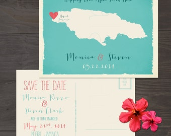 Destination wedding invitation Jamaica  Save the Date Postcard Beach destination wedding Printed Wedding Stationary DEPOSIT PAYMENT