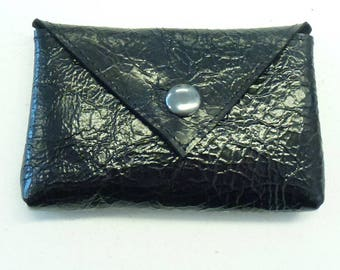 """Small black leather coin purse, Black varnished leather coin pouch, Black leather purse, MALAM, 10. x 7 cm (4x2.7"""")"""