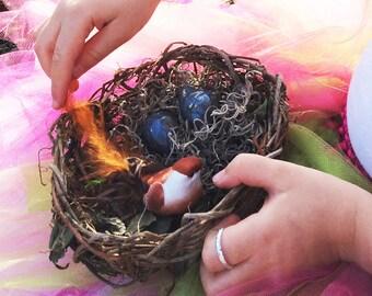 Ring Bearer Birds Nest with Ceramic Eggs, Woven, Baby Shower or Wedding Decor, Orange Blue OBB