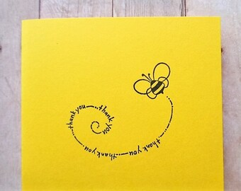 Bumble Bee Thank You Cards Bright Yellow Card