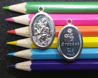3 PCS - Saint Christopher Rosary Making Medal Silver Charm Pendant Limited Edition C1307