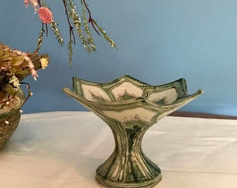 CLEARANCE SALE Hand Thrown and Painted Lotus Pedestal Bowl