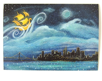Greeting Card: San Francisco Skyline at Night, Neverland, Peter Pan; the City
