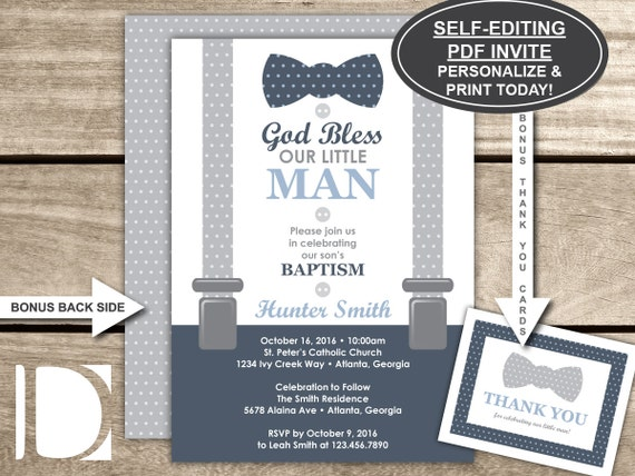Baptism Invitation Little Man Baby Boy Navy Blue Gray Bow