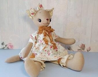 Cat doll Rag doll handmade Cloth doll handmade Textile doll Cat plush Cat stuffed animal Animal art doll Cute stuffed animal Stuffed dolls