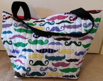 Moustache Themed Quilted Hold All Tote Bag