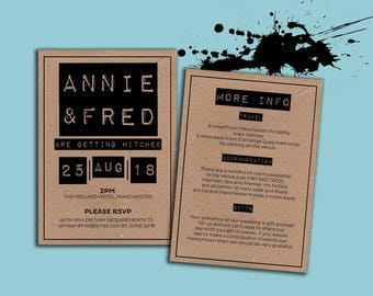 Kraft and black A6 invitations