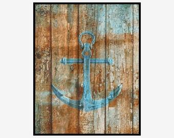 Rustic Boat Anchor, Coastal Home Decor Wall Art, Bathroom/Bedroom Coastal Home Decor Matted Picture