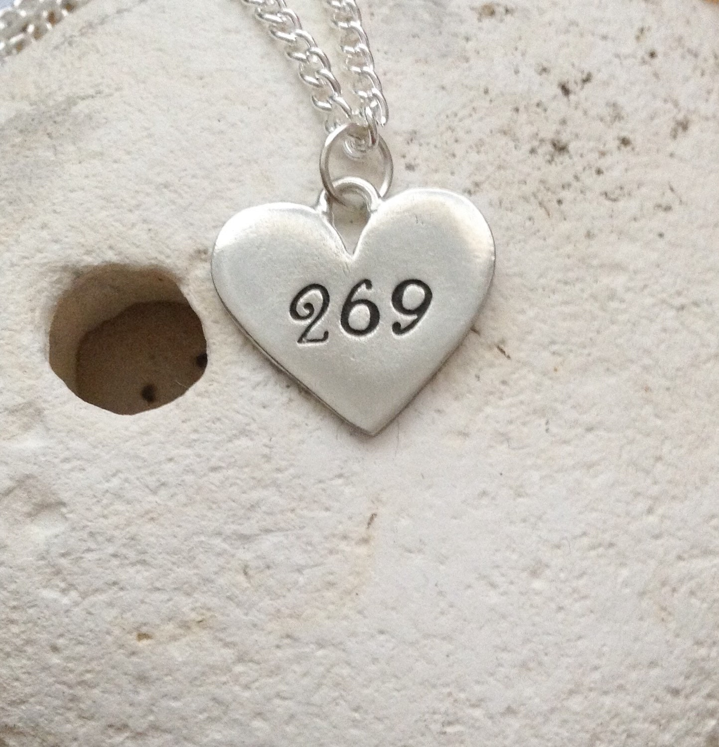 269 vegan heart necklace - 269 life vegan jewellery - jewelry - animal rights jewellery - handstamped pendant