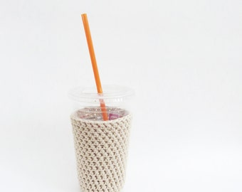 iced coffee cozy. Crochet coffee cozy. Tan cup cozy. Cotton cup sleeve. Eco friendly cup jacket. Summer drink cozy. Light Brown Cozy