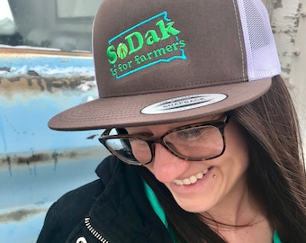 SoDak is for Farmers Flatbill Cap - SoDak South Dakota is for Farmers Retro Brown and White Cap - Embroidered Flat bill Hat Oh Geez Design