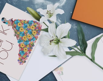 Flower Girl Greeting Card Set with Natural Straw Woven Envelope