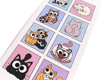 Cute Cat Card (cool colours) - blank inside - tall card with 8 squares of cats on blue and purple backgrounds, design by Kim Onyskiw