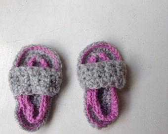 Crochet Baby Flip flops  -Pink and grey