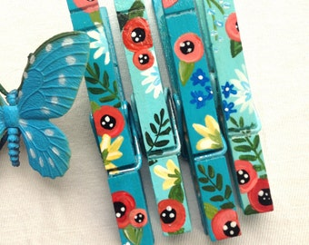 FLOWER CLOTHESPIN magnets hand painted turquoise blue