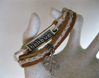 Brass Believe Charm Wrap Bracelet ~ Braided Hemp Cord ~ Leather Cord ~ Brass Charms