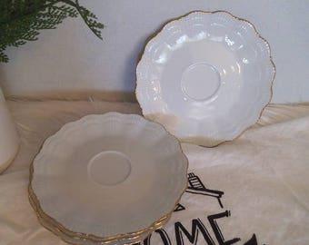 5 Vintage Corail Mottahedah Limoges France Saucers ~ Shell Pattern ~ Gold Trimmed