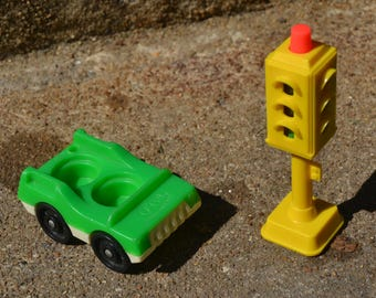 Vintage Fisher Price Little People Green Car an Yellow Traffic Light