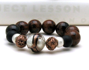 Mahogany  Obsidian  Sterling  Silver  Luxe  Boho Beaded Bracelet  Boutique Wearable Art  For Her Under 275 Free Gift Wrap