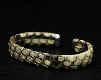 Genuine Python Leather, Womens Leather Bracelet, Snake Leather, Snakeskin Bracelet, Handmade Bracelet, Gift for Him, Python Leather Bracelet