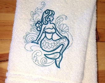 Custom Embroidered Hand Towel - Beach Toys by DsDesignsUnlimited on Etsy