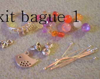 """""""KIT to do it yourself 1 * ring pink and orange"""" support + beads"""