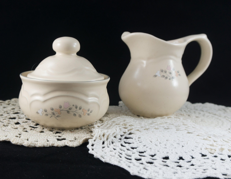 Pfaltzgraff Remembrance Pattern Cream and Sugar Covered Discontinued