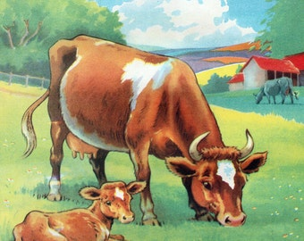 Vintage 1930s Cow and Calf farmyard illustration, Childrens Illustration, childrens book picture, Digital Print, Instant Digital Download