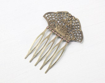 Bridal hair comb Edwardian antique brass bronze rhinestone filigree wedding hair accessory vintage style romantic lavender crystal victorian