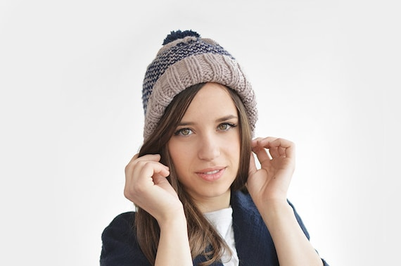 Fair Isle Beanie with Pom Pom Hand Knit Hat in Lavender &