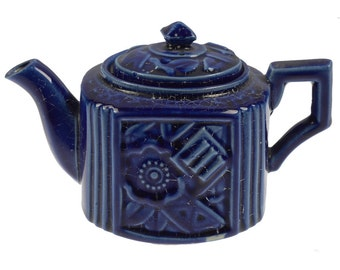 Vintage Cobalt Blue Square Mini Single Serve Teapot Carved Lines Flowers