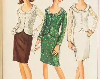 1960s Two Piece Dress pattern Simplicity 6314 Round neckline Fitted waist jacket Knee length skirt Bust 32, Size 12
