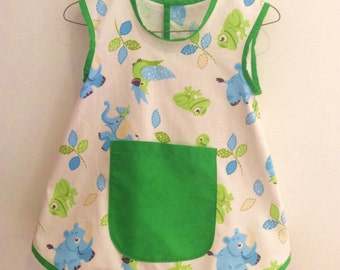 Art Smock, Apron, Lime & Blue Baby Animals,Unisex/Boys/Girls, Quality Hand Made, In 3 Sizes